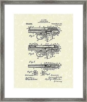 Automatic Firearm 1911 Patent Art Framed Print by Prior Art Design