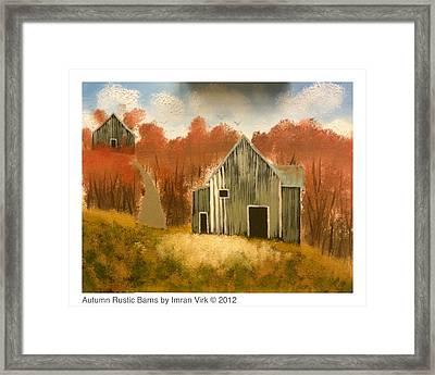 Autumn Rustic Barns Framed Print by Imran Virk