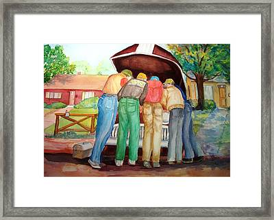 Framed Print featuring the painting Backyard Mechanics by AnnE Dentler