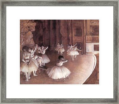 Ballet Rehearsal On The Stage Framed Print by Edgar Degas