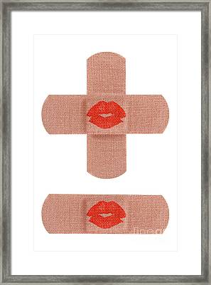 Bandages With Kiss Framed Print