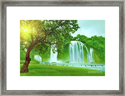 Banyue Waterfall Framed Print