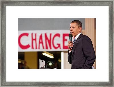 Barack Obama On Stage For Barack Obama Framed Print by Everett