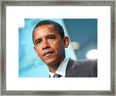 Barack Obama On Stage For Democratic Framed Print