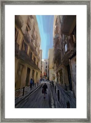 Barcelona Street Scene Framed Print by Sven Brogren