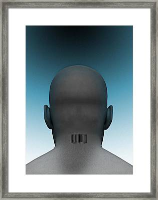 Barcoded Man, Artwork Framed Print by Victor Habbick Visions