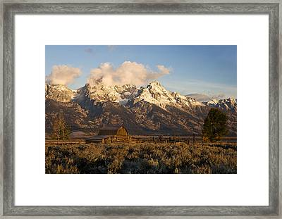 Barn And Corral On Mormon Row Framed Print by Gordon Ripley