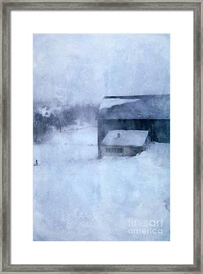 Barn In Winter Framed Print by Jill Battaglia