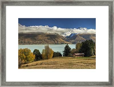 Barn Near Lake Pukaki And Ben Ohau Framed Print