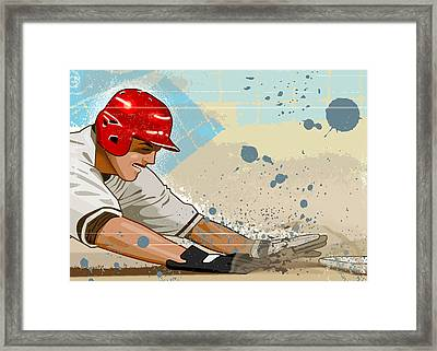Baseball Player Sliding Into Base Framed Print by Greg Paprocki