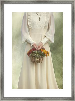 Basket With Flowers Framed Print by Joana Kruse