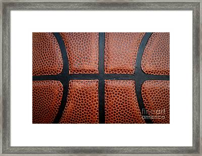 Basketball - Leather Close Up Framed Print by Ben Haslam