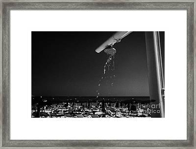 Beach Shower On Harbour Beach Ayia Napa Republic Of Cyprus Europe Framed Print