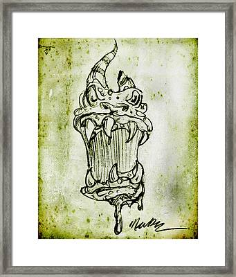 Framed Print featuring the drawing Beastly Monster by Nada Meeks