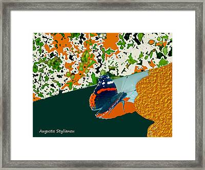 Beautiful Butterfly On Gold Framed Print by Augusta Stylianou