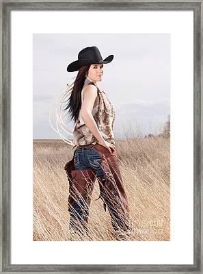 Beautiful Cowgirl Framed Print by Cindy Singleton