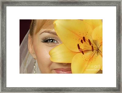 Beautiful Young Woman With A Yellow Lily Framed Print by Oleksiy Maksymenko