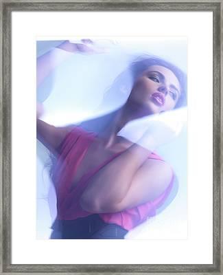 Beauty Photo Of A Woman In Shining Blue Settings Framed Print by Oleksiy Maksymenko