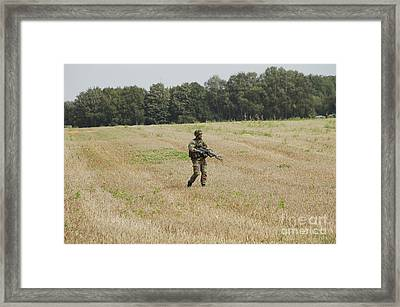 Belgian Paratroopers Proceeding Framed Print by Luc De Jaeger