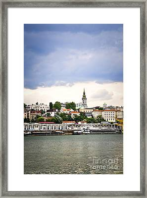 Belgrade Cityscape On Danube Framed Print by Elena Elisseeva