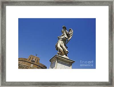 Bernini Statue On The Ponte Sant Angelo Framed Print by Bernard Jaubert