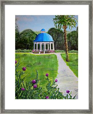 Framed Print featuring the painting Bev's Bandstand by Lyn Calahorrano