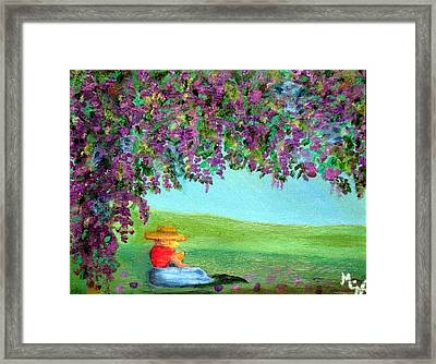 Framed Print featuring the painting Beyond The Arbor by Margaret Harmon