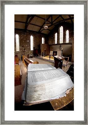 Bible In Church Framed Print by John Short