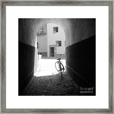 Bicycle In Tunnel Framed Print by Gordon Wood