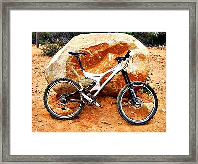 Bicycle Of Decrease In Mountains Framed Print by Jenny Senra Pampin