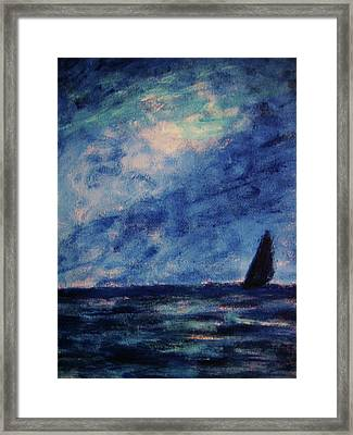 Framed Print featuring the painting Big Blue by John Scates