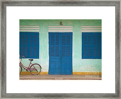 Bike Parked On A Front Porch Framed Print by Skip Nall