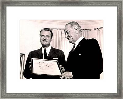 Billy Graham & President Lyndon B Framed Print by Everett