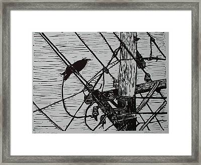 Bird On A Wire Framed Print by William Cauthern