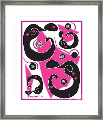 Black Figures With Pink Framed Print