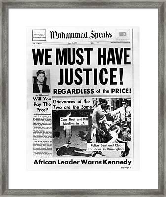Black Muslim Newspaper, Muhammad Framed Print by Everett
