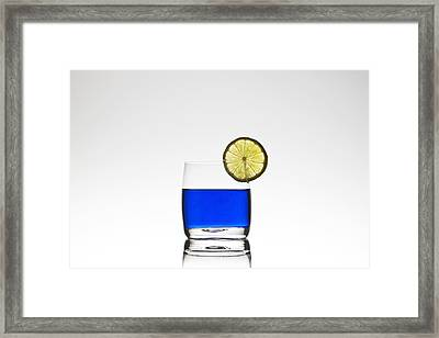 Blue Cocktail With Lemon Framed Print by Joana Kruse