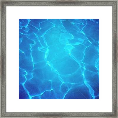 Blue Water Surface - Swimming Pool Framed Print