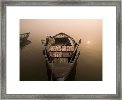 Boat In The Water, Varanasi, India Framed Print by Keith Levit