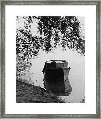 Boat On Foggy Rhine Framed Print by Bob Wall