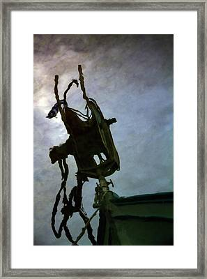 Boat Reflections In Oily Sea Framed Print by Stelios Kleanthous