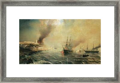 Bombardment Of Sale Framed Print by Jean Antoine Theodore Gudin