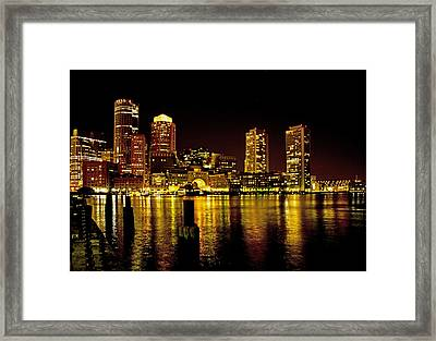 Boston At Night Framed Print by Gordon Ripley