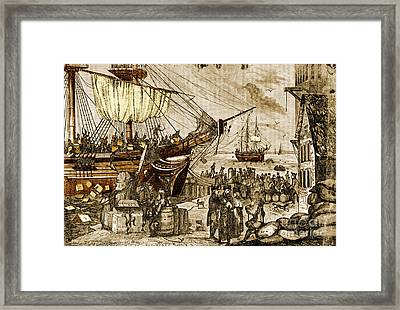 Boston Tea Party, 1773 Framed Print by Photo Researchers