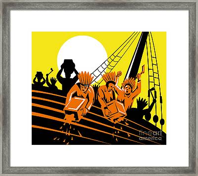 Boston Tea Party Raiders Retro Framed Print