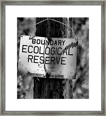 Boundary Framed Print by Bob Wall
