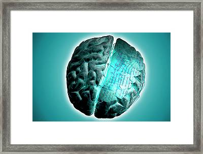 Brain With Circuit Board Framed Print
