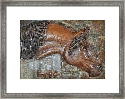 Bronze Arabian Horse Relief Framed Print by Valerie  Evanson