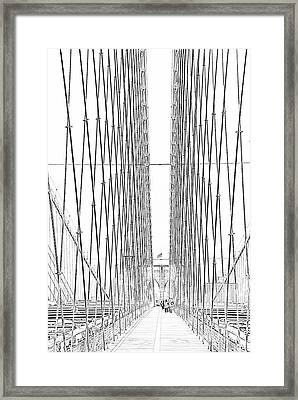 Brooklyn Bridge Framed Print by Alan Clifford