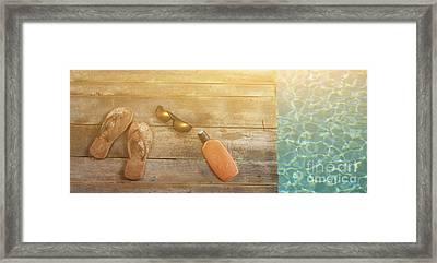 Brown Sandels On Withered Wood  Framed Print by Sandra Cunningham